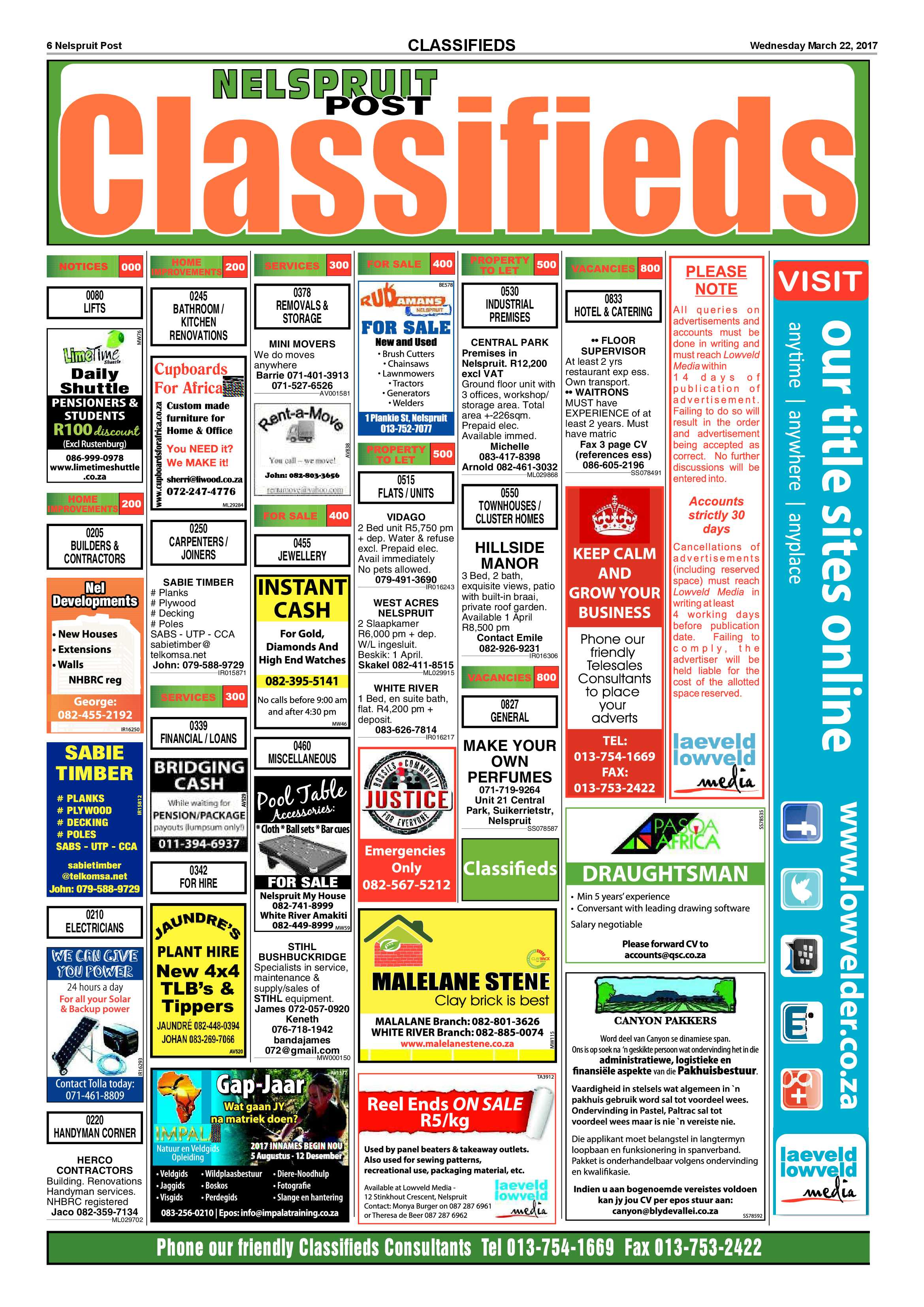 Posts for march page 7 - Nelspruit Post 22 March 2017 Epapers Page 6
